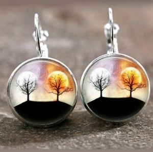 New Sun and Moon Celestial Glass Cabochon Earrings